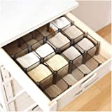 WARRAH Adjustable Set Of 6 Boxes Organiser Drawers Divider for Socks Cosmetic and Tie More! Black