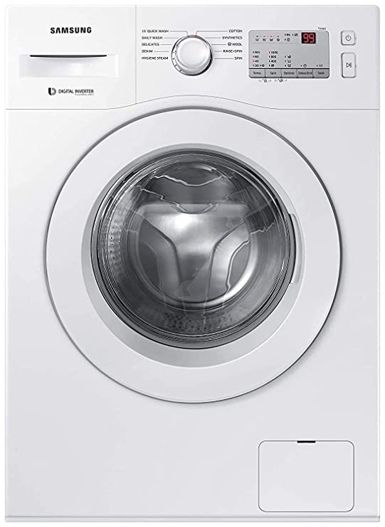 Samsung 6.0 Kg Inverter 5 Star Fully Automatic Front Loading Washing Machine  WW60R20GLMA/TL, White, Hygiene Steam  Washing Machines   Dryers