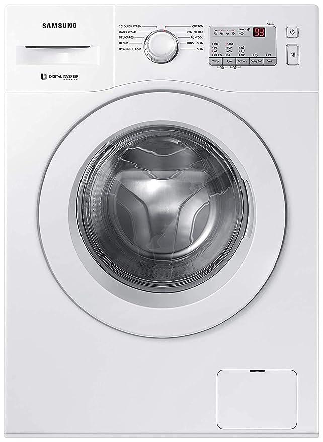 Samsung 6.0 Kg Inverter 5 Star Fully Automatic Front Loading Washing Machine  WW60R20GLMA/TL, White, Hygiene Steam  Washing Machines   Dryers