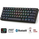 LeaningTech LTC-K61 メカニカルキーボード 61キー マクロ記録機能 60%レイアウト Bluetooth RGB バックライト付 ワイヤレス/ケーブル接続可能 スマホ タブレット パソコン PBTキ ーキャップ バッテリー内蔵 (赤軸)