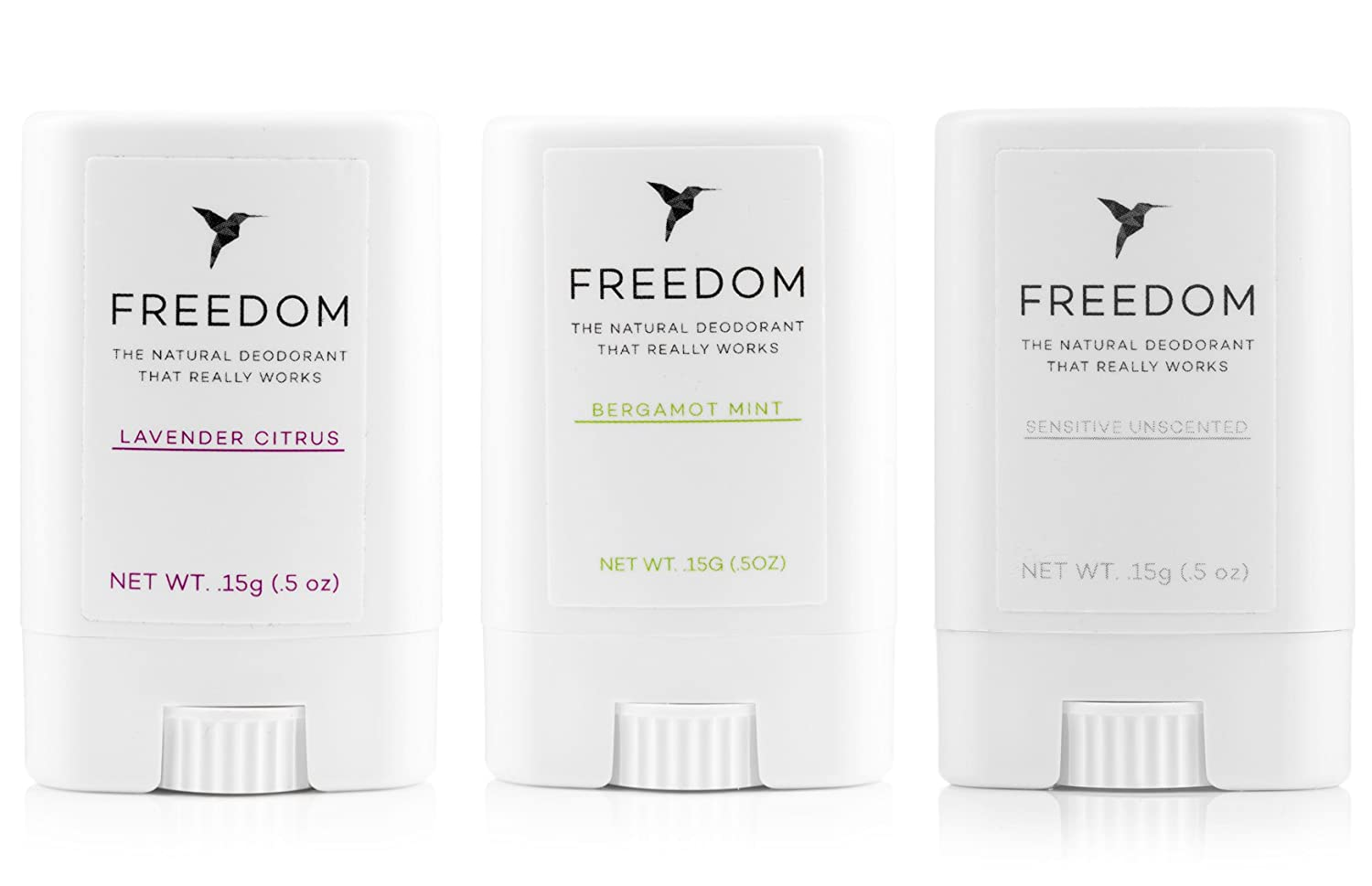 Freedom All-Natural, Aluminum Free Deodorant For Men and Women That Works All Day, Travel Size 3 Pack (Amber, Unscented, Mint) Raining Rose Inc.