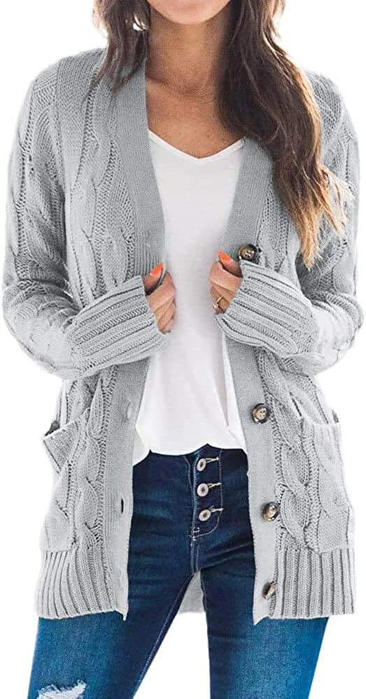TARSE Womens Open Front Long Sleeve Cardigan Sweater Cable Knit Pocket Outwear