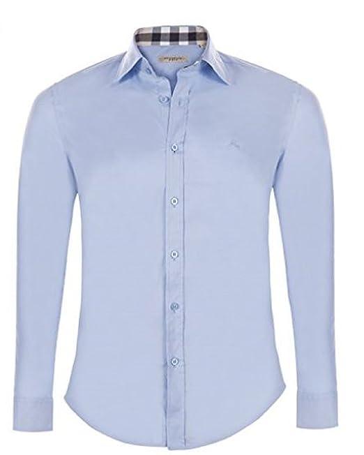 BURBERRY Camicia Uomo Manica Lunga Colore Celeste (XXL)  Amazon.it ... 7212cc42288