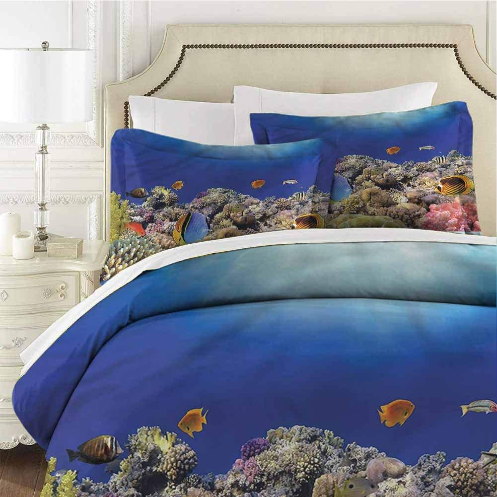 DIMICA Ocean Bedding 3-Piece Full Bed Sheets Set Comforter Bedding Set Microfiber Duvet Cover Set Wild Sea Life Exotic Corals with with Zipper Closure Ultra (1DuvetCover+2Pillowcases)
