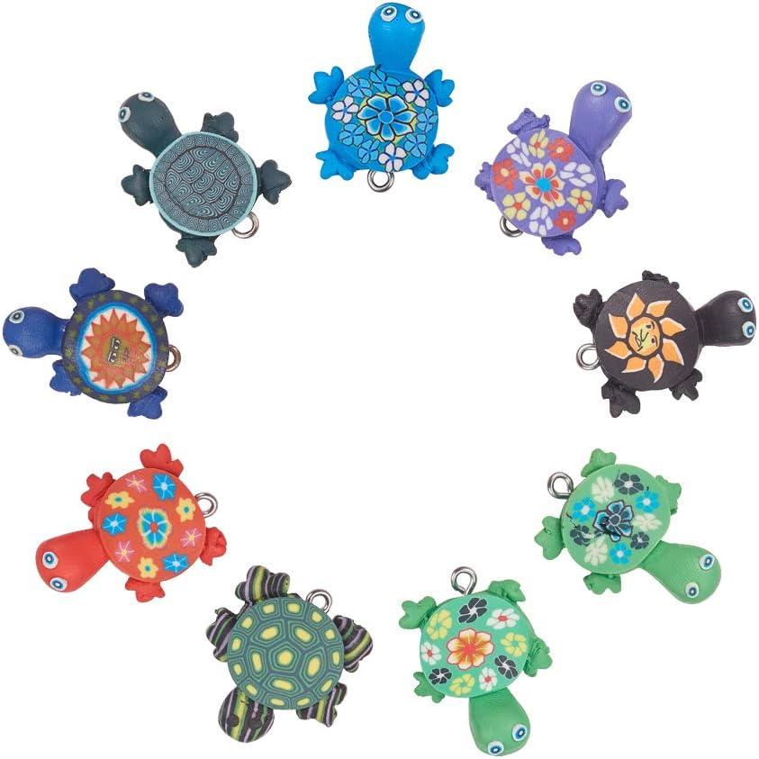 NBEADS 50 Pcs Tortoise Shape Polymer Clay Charm Pendants, RANDOM MIXED Handmade Polymer Clay Turtle Link Charms Animal Tortoise Slime Beads for Phone Straps Key Bag Decor DIY Jewelry Making