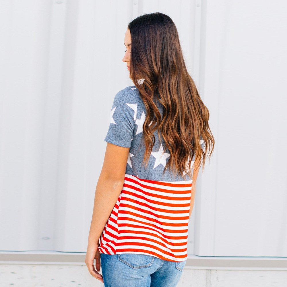 Independence Day 2019 Womens Print T-Shirt American Flag Tops Casual Short Sleeve Blouse 4th of July Shirts for Women