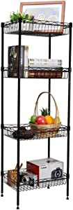 YOHKOH 4-Tier Metal Wire Storage Shelving Rack with Baskets, Adjustable Corner Shelf Organizer for Laundry Bathroom Kitchen Pantry Closet Garage Tool Storage, Black