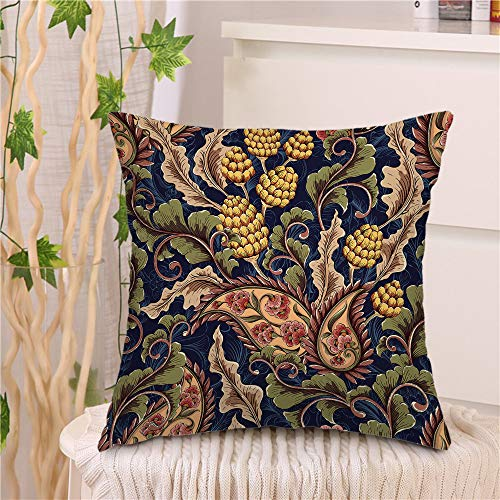 "oFloral Flower Throw Pillow Cover Paisley Flowers Abstract Plant Intricate Leaves Decorative Square Pillow Case 18""X18"" Pillowcase Home Decor for Sofa Bedroom"