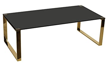Strange Cortesi Home Remini Coffee Table Gold Metal And Black Glass Lamtechconsult Wood Chair Design Ideas Lamtechconsultcom
