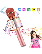 FREESOO Wireless Karaoke Microphone Bluetooth Handheld Portable Speaker Home KTV Player with Dancing LED Lights Record Function for Kids Party Singing, Compatible with Android & iOS Devices
