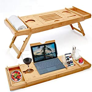 AGJIDSO Bamboo Bathtub Tray & Bed Laptop Desk with Foldable Legs,2 in 1 Innovative Design, Luxurious Bathtub Tray with Extending Sides, Tablet Holder, Reading Rack,Cellphone Tray and Wine Glass Holder