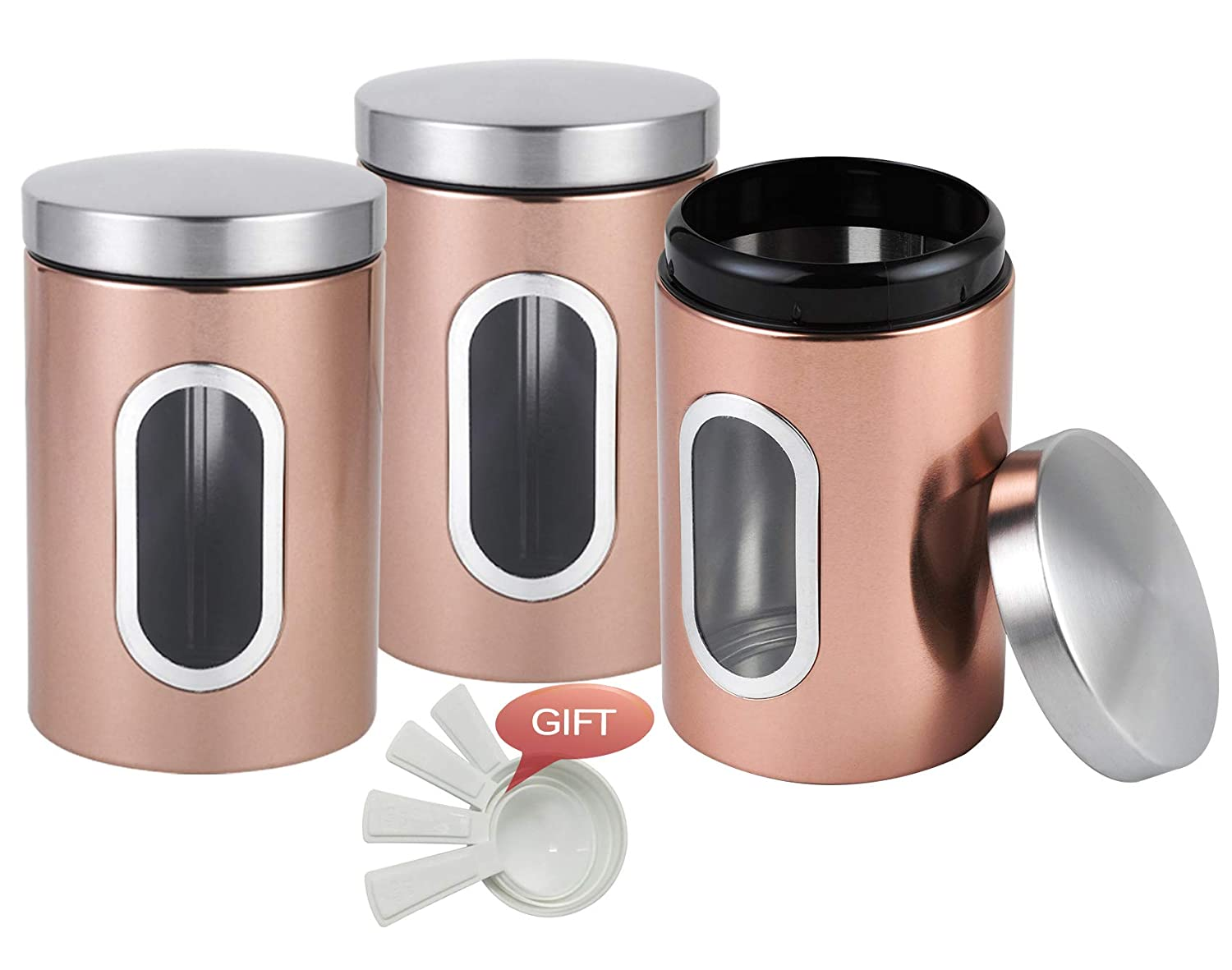 SUNERIC Round Stainless Steel Canister with Window, 3-Piece Set, Rose Gold, with Free Meansuring Cup 4-Piece Set