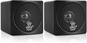 "3"" Mini Cube Bookshelf Speakers - 100W Small Bookshelf Speakers w/ 3"" Paper Cone Driver, 8 Ohm - Passive Audio Book Shelf Speaker Pair For Home Theater Stereo Surround Sound - Pyle Home PCB3BK (Black)"