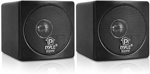 3 Mini Cube Bookshelf Speakers – 100W Small Bookshelf Speakers w 3 Paper Cone Driver, 8 Ohm – Passive Audio Book Shelf Speaker Pair For Home Theater Stereo Surround Sound – Pyle Home PCB3BK Black