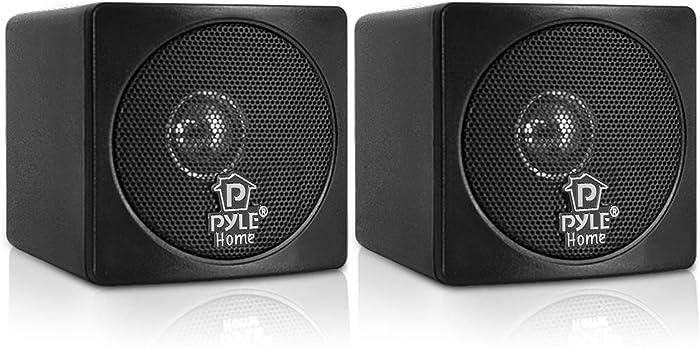 "3"" Mini Cube Bookshelf Speakers - 100W Small Bookshelf Speakers w/ 3"" Paper Cone Driver, 8 Ohm - Passive Audio Book Shelf Speaker Pair For Home Theater Stereo Surround Sound - Pyle Home PCB3BK (Black)"