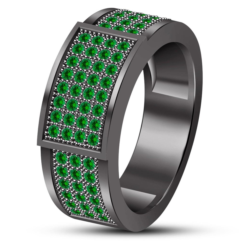 2aac56243f82 Vorra moda lujo boda banda anillo para los hombres de plata de ley 925  negro chapado