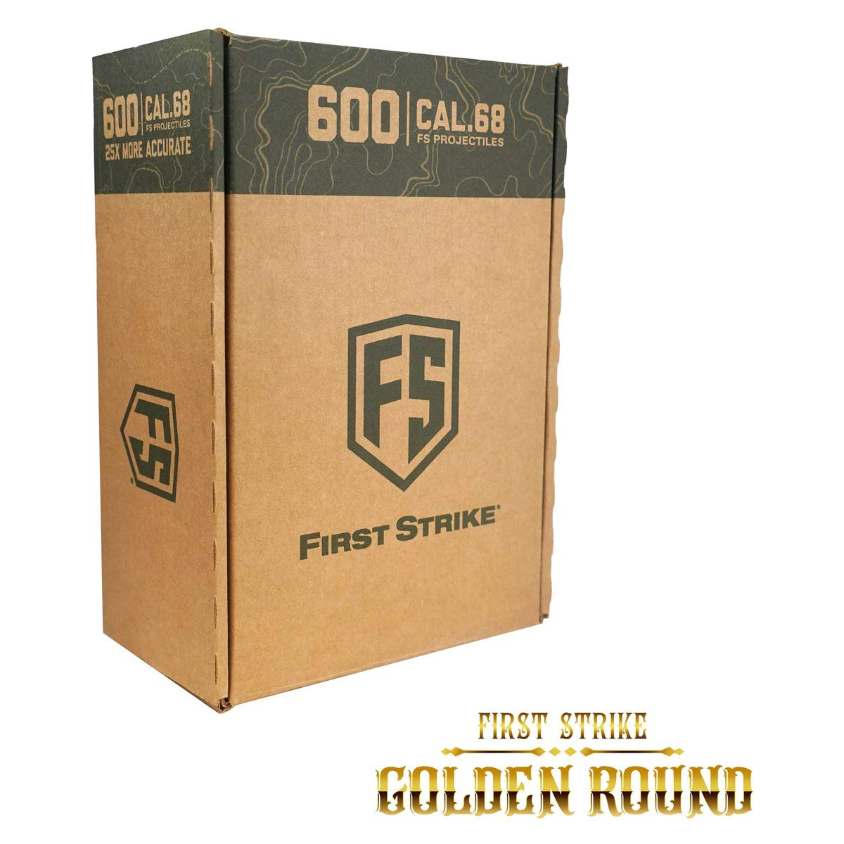 First Strike Paintball Rounds - Yellow/Smoke Shell - Yellow Fill - 600 Count - Gold Round Box
