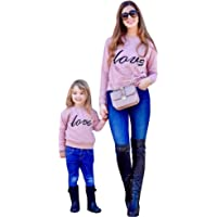 Mommy and Me Outfits Love Print Long Sleeve Round Neck Sweatshirt Family Matching Pullover Tee Tops Clothes