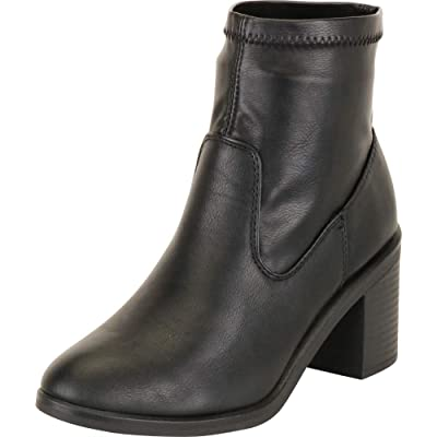 Cambridge Select Women's Sock Stretch Slip-On Chunky Block Mid Heel Ankle Bootie | Ankle & Bootie