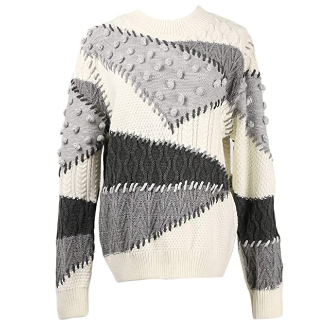 6490e84044a916 Color Block Knitted Pullover Sweater Women Ball O Neck Knitwear Top (Color  : Grey,