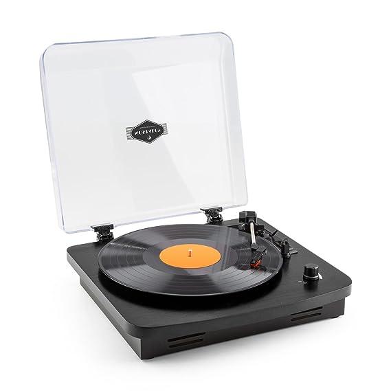 auna TT-370 - tocadiscos , reproductor de vinilos , accionamiento por correa , puerto USB para reproducir y digitalizar , 3 velocidades: 33, 45 y 78 ...
