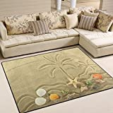 ALAZA Island in the Ocean and Palm Tree Starfish Painted on the Sand Area Rug Rugs for Living Room Bedroom 7′ x 5′ For Sale