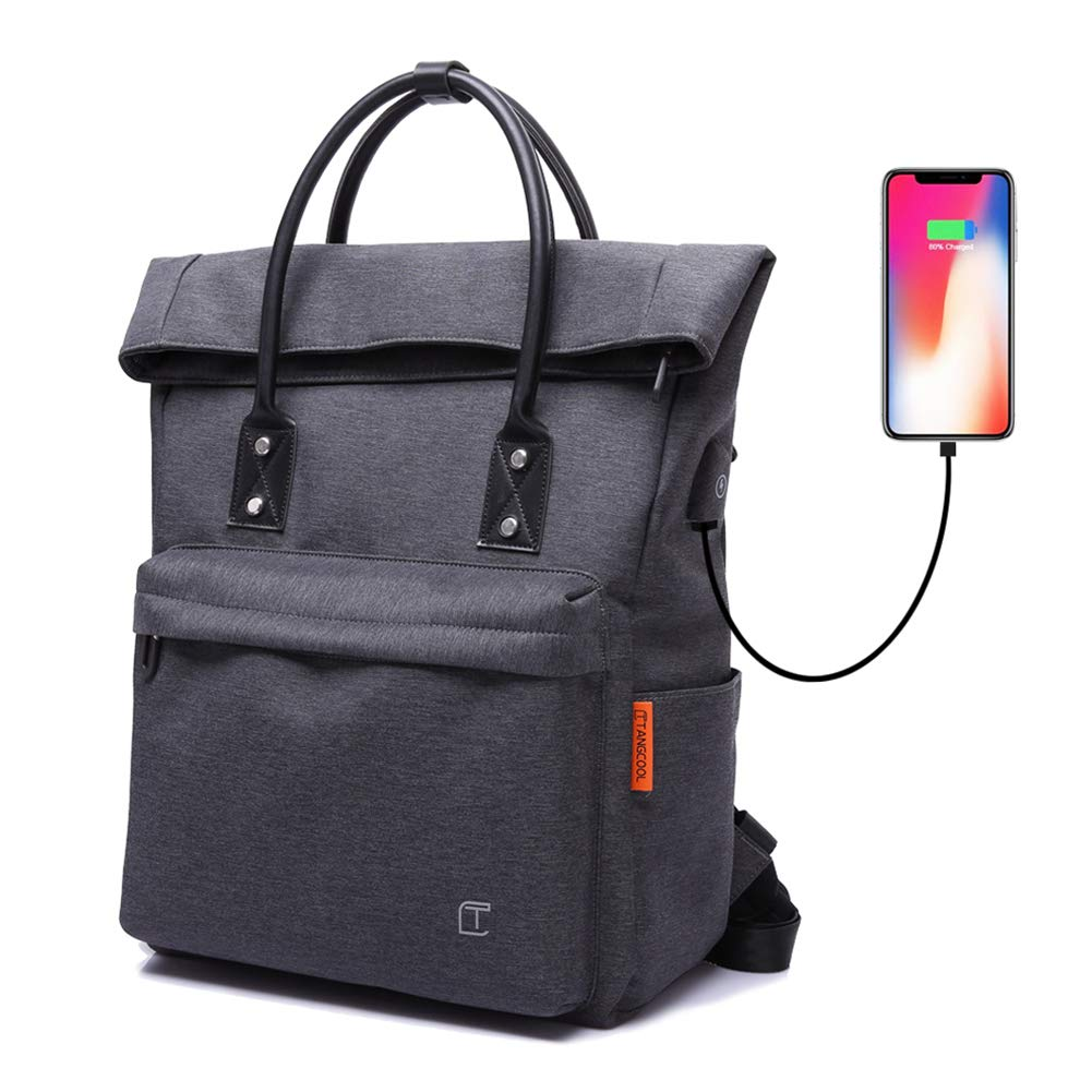 TC Tote Bag Backpack Convertible with USB Charging Lightweight Waterproof School Travel Daypack Fit Under 15-inch Laptop Fashion & Casual Foldable Backpack for Women Men, Black