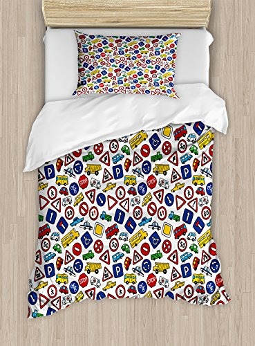 Lunarable Boy's Room Duvet Cover Set Twin Size, Cute Bus Car Traffic Signs Bike Kids Road Caricature Style Hand Drawn Print, Decorative 2 Piece Bedding Set with 1 Pillow Sham, Multicolor