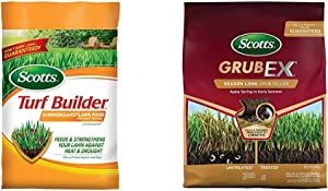 Scotts Turf Builder Lawn Food - Summerguard with Insect Control, 15,000-sq ft (Lawn Fertilizer Plus Insect Control) (Not Sold in Pinellas County, FL) & GrubEx1 Season Long Grub Killer, 28.85 lb.