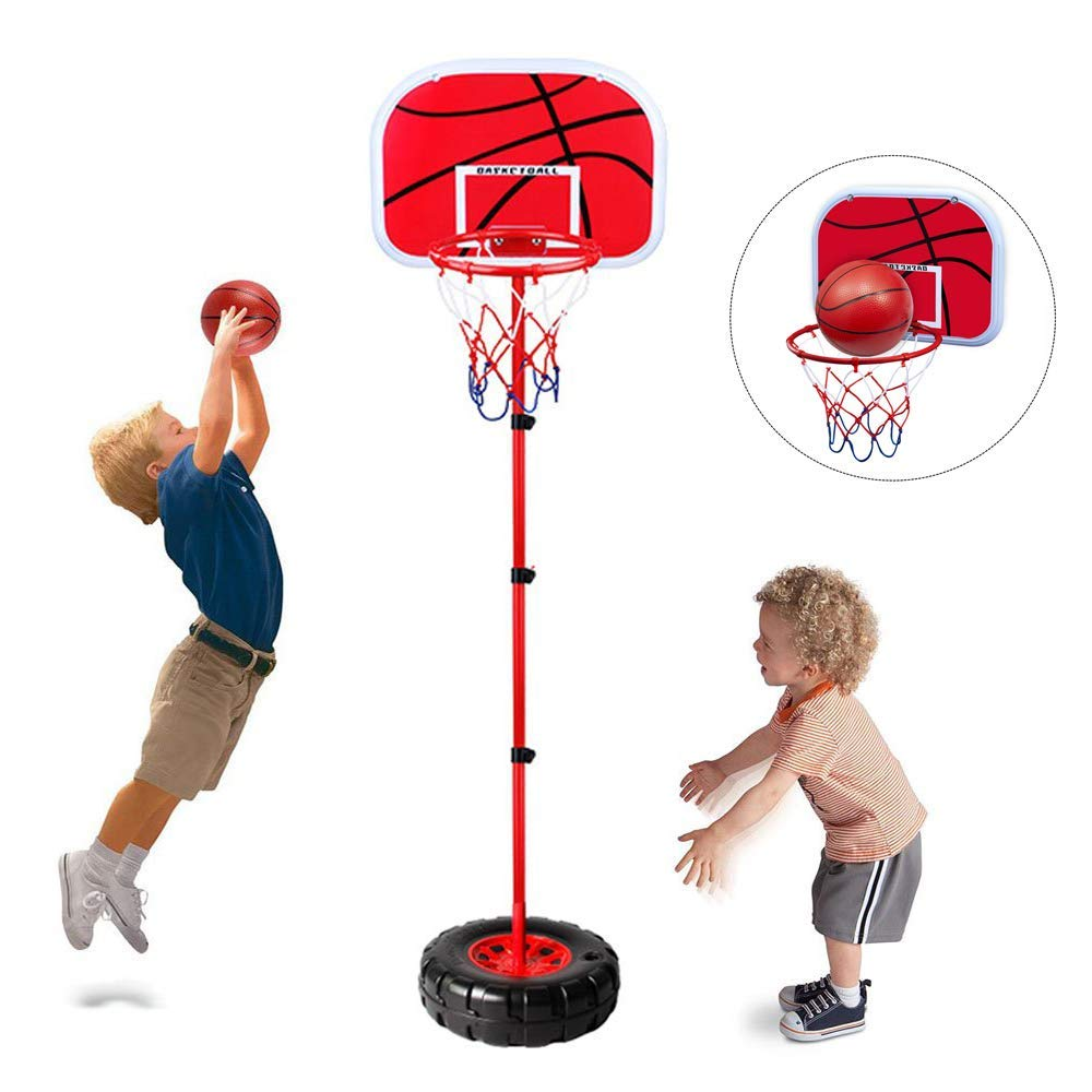 Stand Wall 2-in-1 Basketball Set - Happytime Kids Stand Adjust Hoop & Wall  Basketball Hoop 2-in-1 Basketball Sets Toy with Ball Pump Indoor and