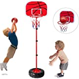 Toddler Basketball Hoop Stand Wall 2-in-1 Basketball Set Kids Portable Height-adjustable Basketball Goal Toy with Ball Pump I