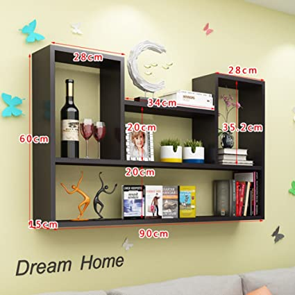 Wall Mount Shelf,Decorative Wall Book Shelf Set Hanging Flower Rack Wood  Simple Creative For