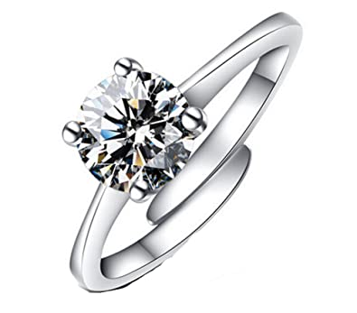 Foxnovo Womens Ladies S990 Sterling Silver Sparkling Starry Adjustable Finger Ring Udg9SMa4