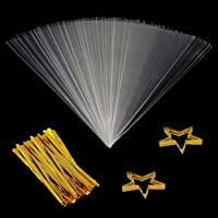 """Clear Cone Bags 100PCS Cellophane Triangle Clear Treat Bags with Gold Twist Ties for Favor Christmas Candy Popcorn Handmade Cookies Sweets Crafts 11.8"""" by 6.3"""""""