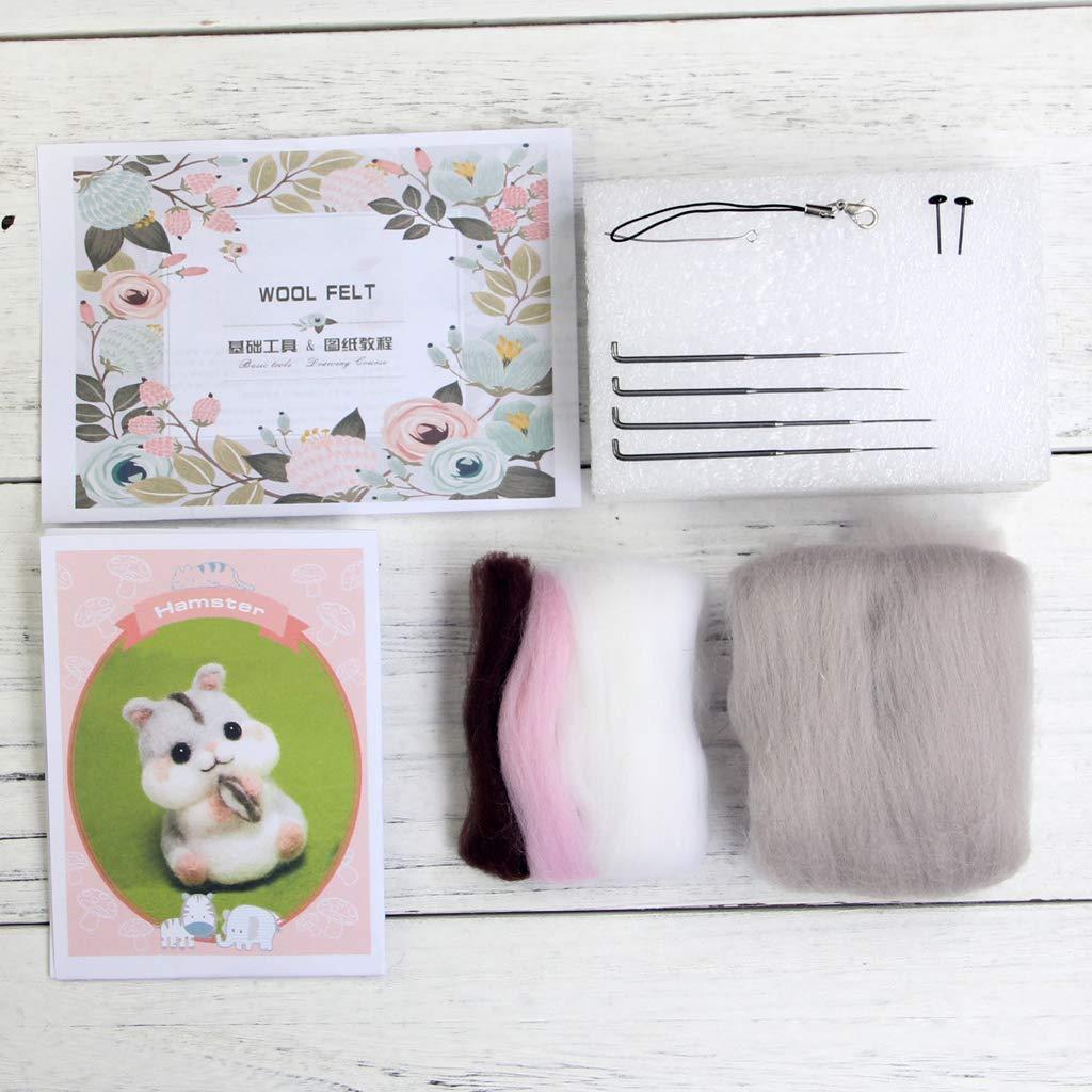 Shoresu Hamster Animal Doll Wool Felt Craft DIY Non Finished Poked Set Handcraft Kit for Needle Material Bag Pack