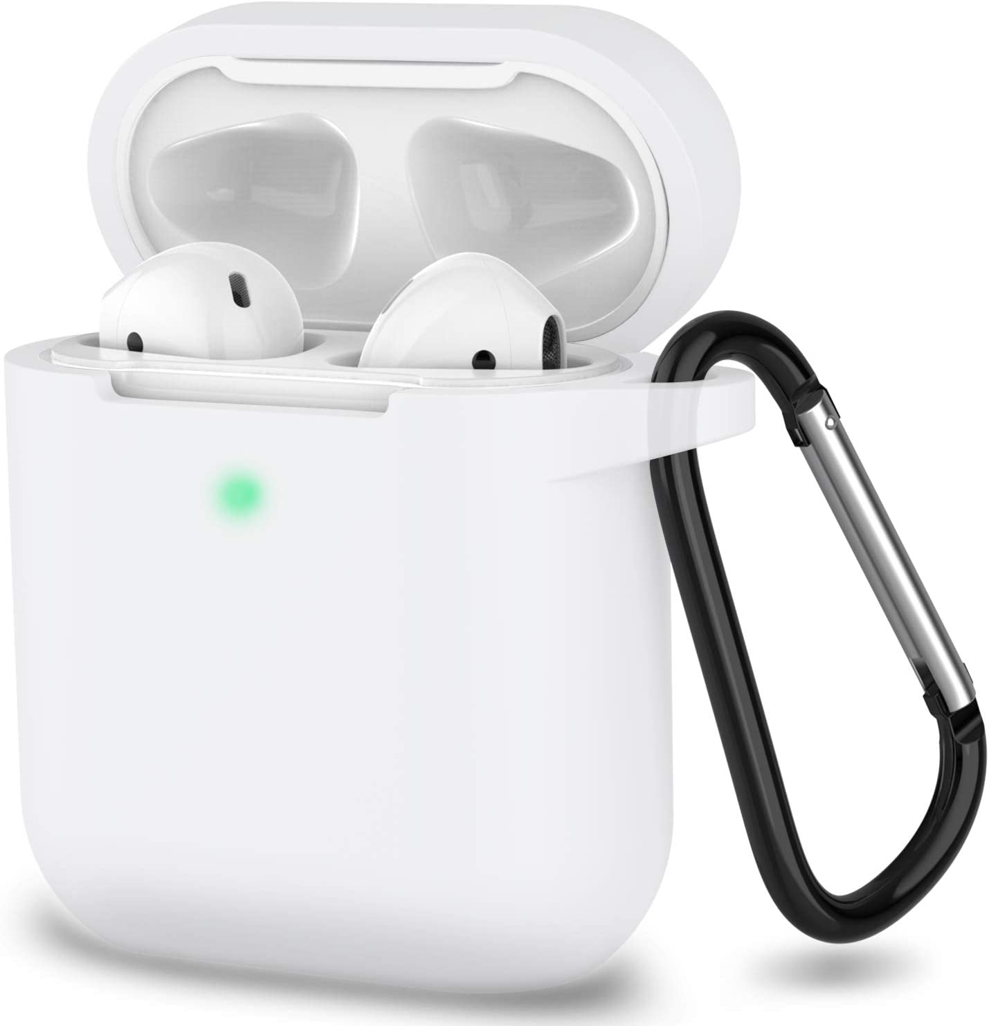 AirPods Case, Full Protective Silicone AirPods Accessories Cover Compatible with Apple AirPods 1&2 Wireless and Wired Charging Case(Front LED Visible),Clear