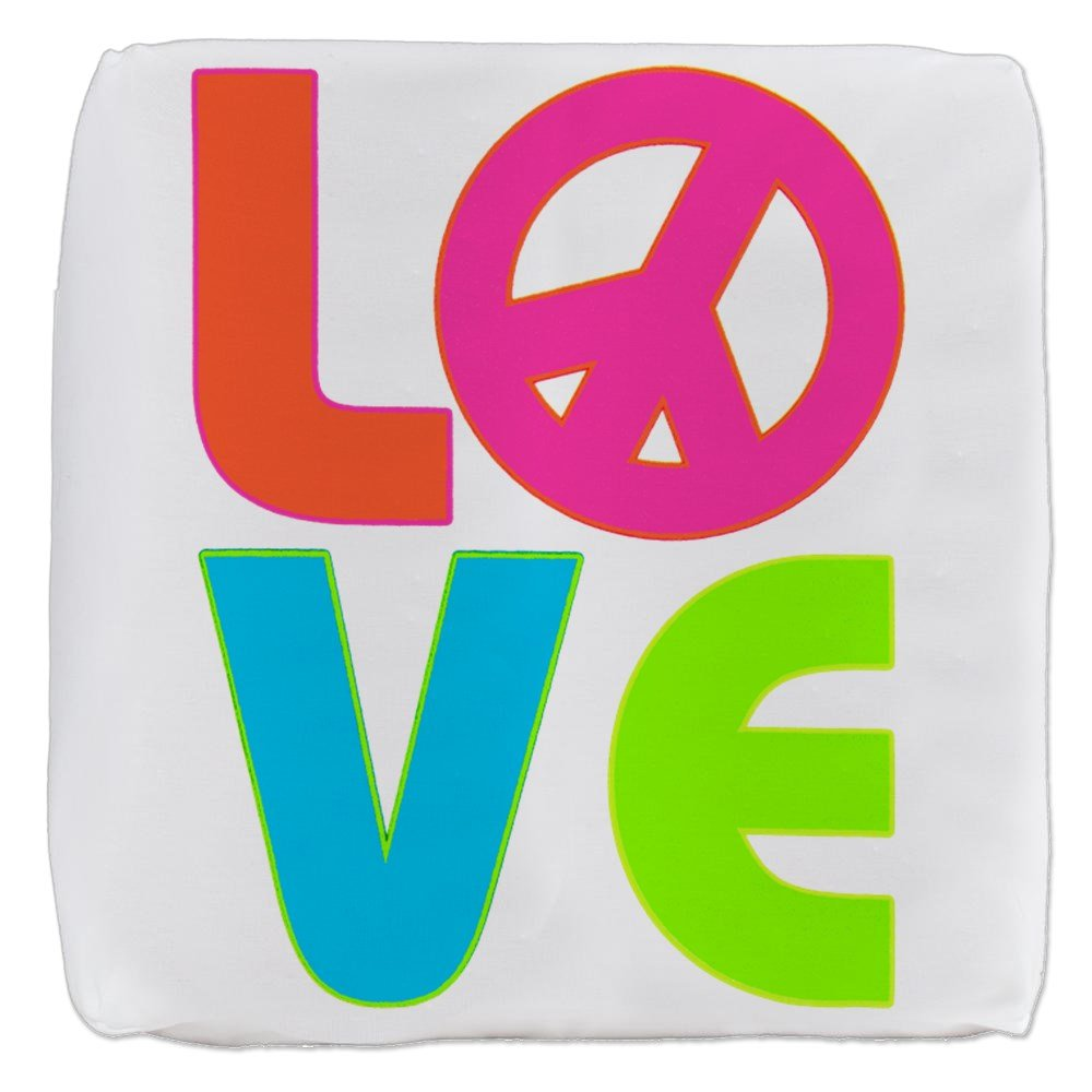 18 Inch 6-Sided Cube Ottoman Neon Love with Peace Symbol Sign by Royal Lion