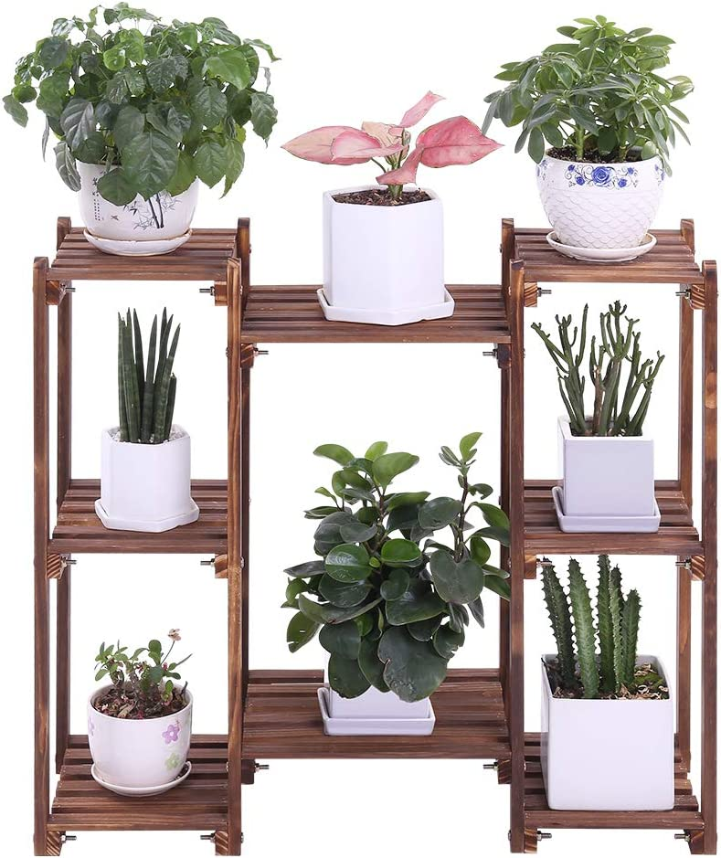 Wood Plant Stands Indoor Outdoor Plant Shelf 8 Tiered Flower Pot Stand Holder Multi Tier Flower Display Rack Shelves for Patio Garden Balcony Yard(29.9 in,Floor Standing)