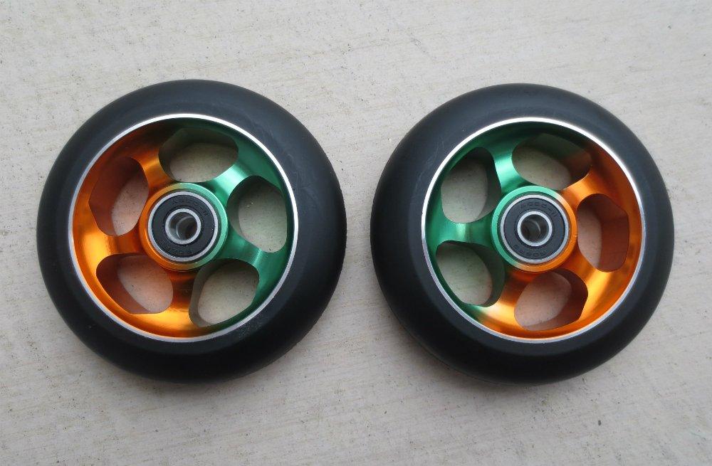 DropIn Scooters DIS 100mm Soft Landing Metal Core Wheels 5-Spoke - Rasta
