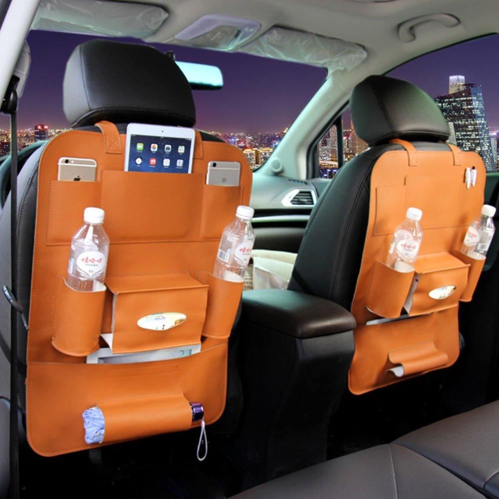 HCMAX 1 Pack Auto-Rückenlehnenschutz Autositz zurück Veranstalter Tasche Rücksitz Schutzaufbewahrung Trittmatte Ipad Mini Halter Großes Reisezubehör