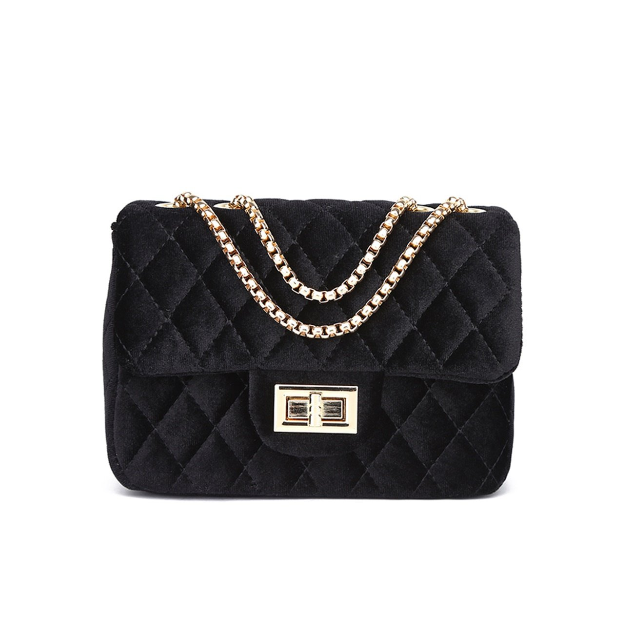 LeahWard Women s Quilted Velvet Chain Strap Cross Body Handbags Bag  Shoulder Bag (BLACK 20cmX14cm)  Amazon.co.uk  Shoes   Bags afdaad06d3143
