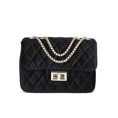 af00ac28c1a0 LeahWard Women s Quilted Velvet Chain Strap Cross Body Handbags Bag  Shoulder Bag (BLACK 20cmX14cm)