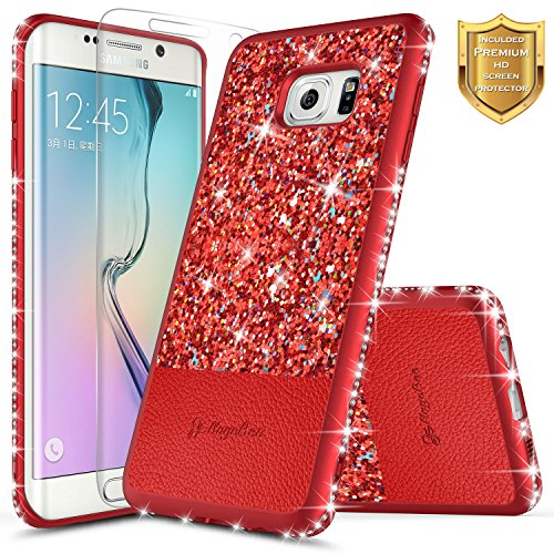 Galaxy S6 Edge Case w/ [Screen Protector HD Clear], NageBee Shiny Diamond Glitter Bling Crystal Super Slim Protective Soft TPU Leather Hybrid Case for Samsung Galaxy S6 Edge S VI Edge G925 -Red (Tpu Edges)