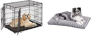 MidWest Homes for Pets Double Door Folding Metal Dog Crate with Plush Pet Bed