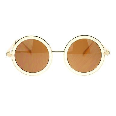 dbf748efc930 Womens Triangle Arrow Hinge Round Circle Lens Retro Fashion Sunglasses Beige