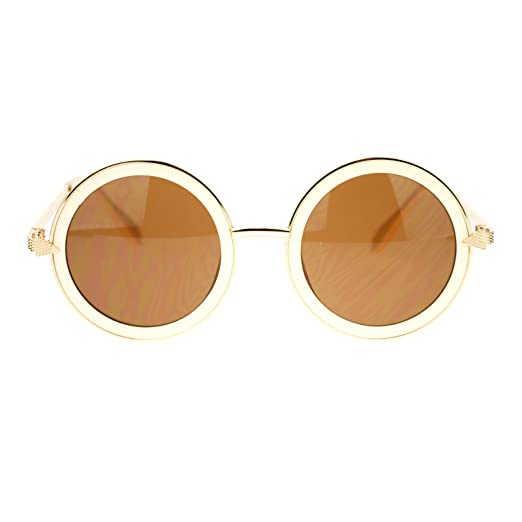 7c5d044465 Womens Triangle Arrow Hinge Round Circle Lens Retro Fashion Sunglasses Beige