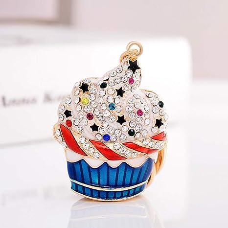 XYAYA Llavero Moda Crystal Cake Llavero Rhinestone Helado ...