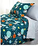 8 Piece Colorful Outerspace Inspired Design Comforter Set Full Size, Featuring Spacemen Robots Planets Motif Comfortable Bedding, Playful Patterned Boys Kids Bedroom Decoration, Green, Multicolor