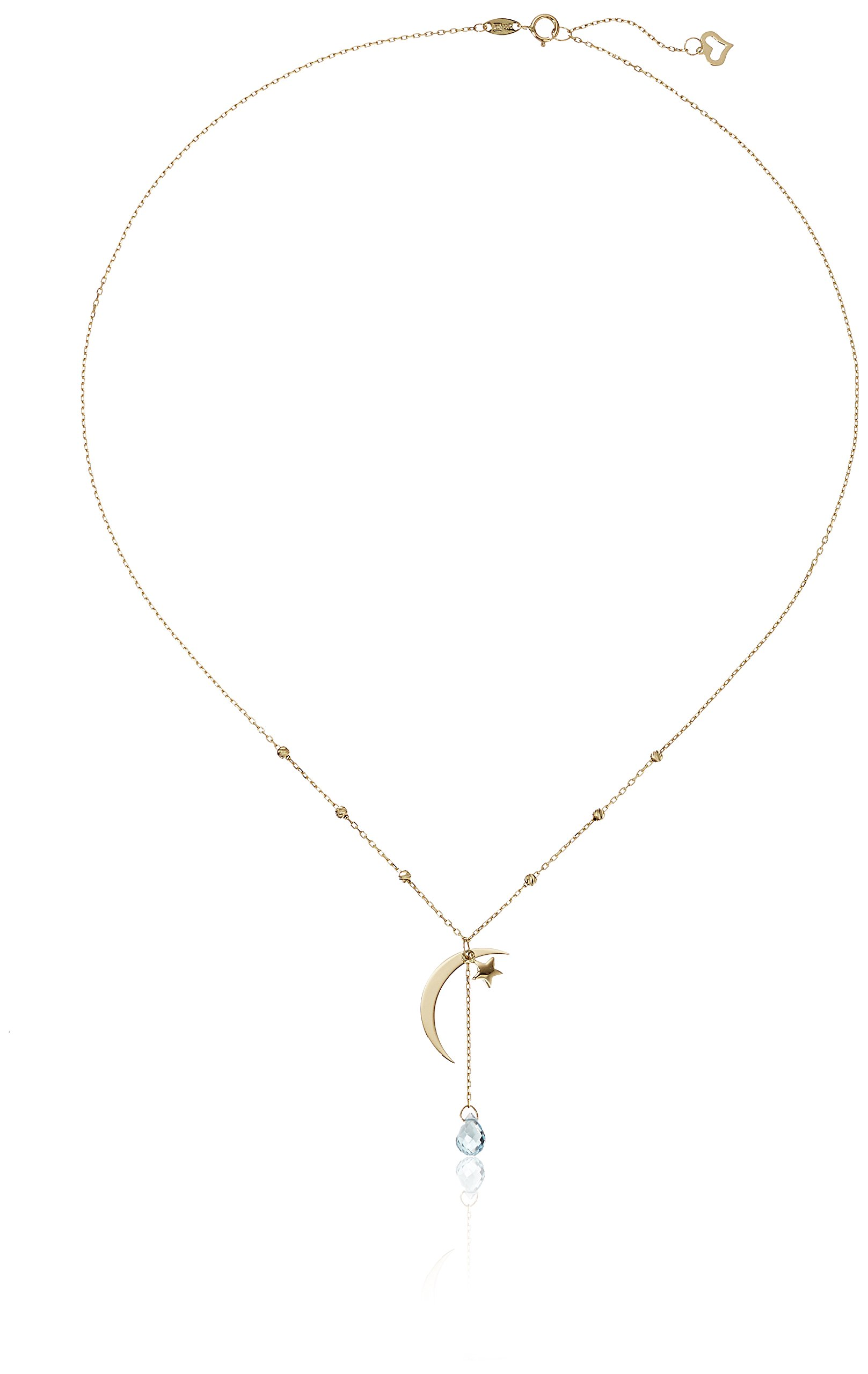 14k Yellow Gold Star and Moon Adjustable with Sky Blue Topaz Briolette Y-Shaped Necklace, 17''+1'' Extender