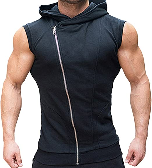 COOFANDY Mens Sleeveless Workout Hoodie Zip-up Vests Gym Bodybuilding Lifting Tank Tops
